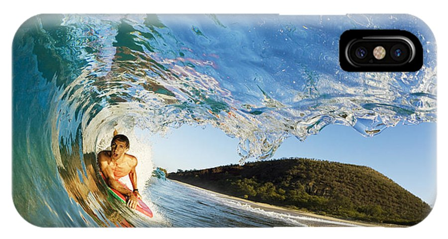 Action IPhone X Case featuring the photograph Riding Barrel At Makena by MakenaStockMedia - Printscapes
