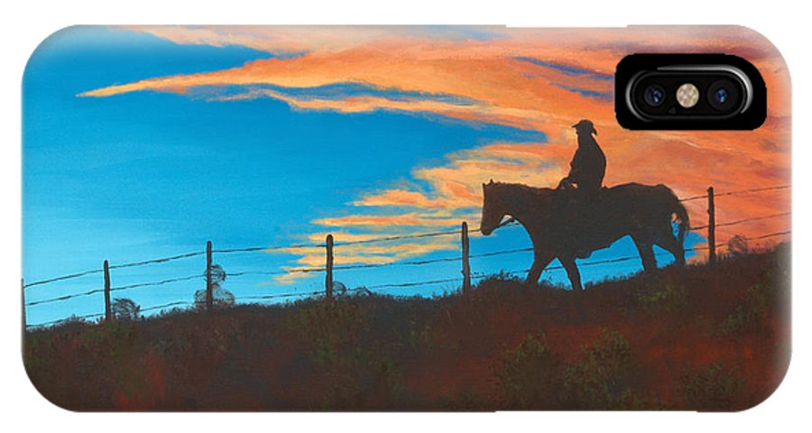 Cowboy IPhone X Case featuring the painting Riding Fence by Jerry McElroy