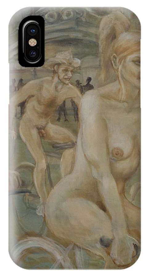 Nude In Motion IPhone X Case featuring the painting Riding Passed Burlington Arcade In June by Peregrine Roskilly