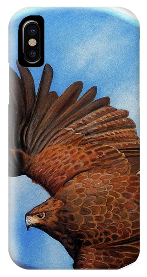 Hawk IPhone X Case featuring the painting Riding The Wind by Brian Commerford