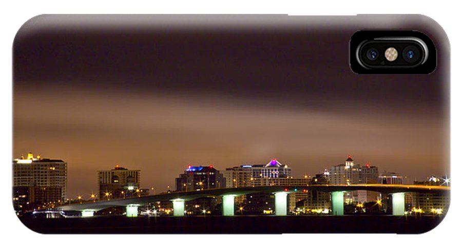 The John Ringling Bridge And The Sarasota City With Night Time Clouds Lit Up By The City Lights Architecture IPhone X / XS Case featuring the photograph Ringling Bridge And Sarasota by Nicholas Evans