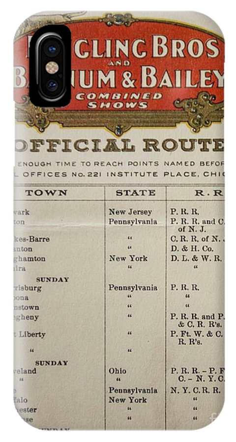 Official Route IPhone X Case featuring the photograph Ringling Brothers Train Route - 1920 by David Bearden