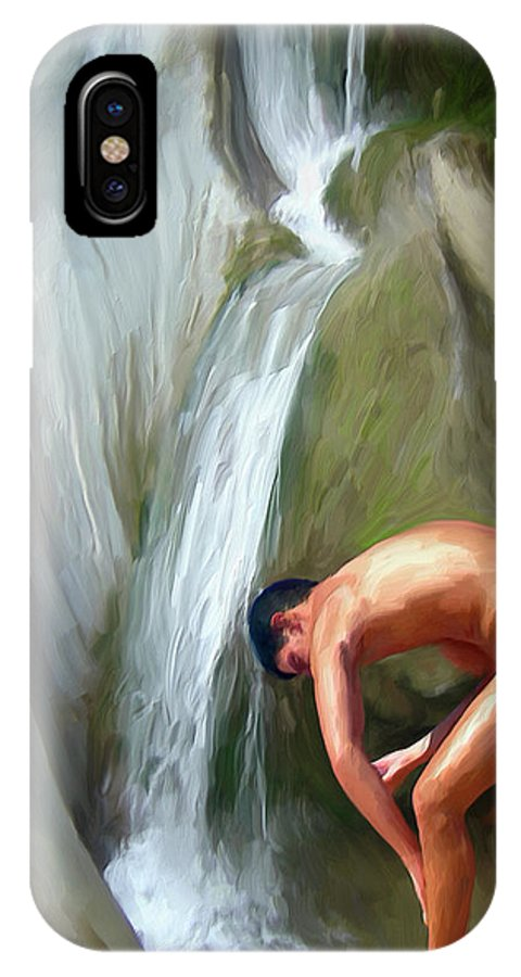 Mixed Media IPhone X Case featuring the digital art Rinsing Off by Snake Jagger