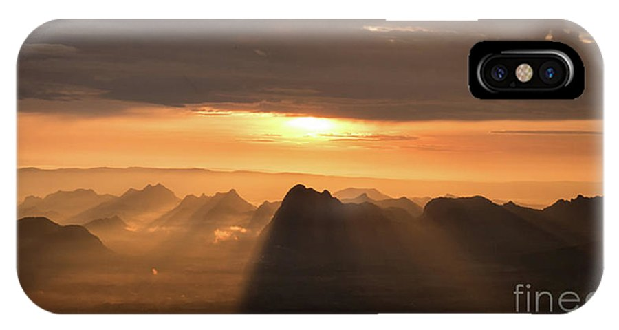Sunrise IPhone X Case featuring the photograph Rise Light Life by Thatkasem Moraphat