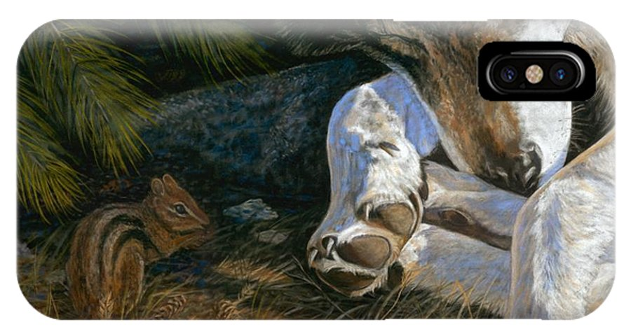 Wolf IPhone Case featuring the painting Risky Business by Sheri Gordon