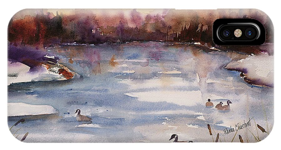 River IPhone X Case featuring the painting River Geese by Renee Chastant