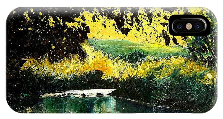 River IPhone X Case featuring the painting River Houille by Pol Ledent