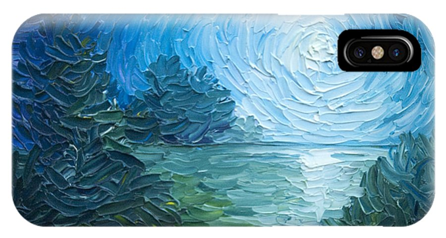 Nature; Lake; Sunset; Sunrise; Serene; Forest; Trees; Water; Ripples; Clearing; Lagoon; James Christopher Hill; Jameshillgallery.com; Foliage; Sky; Realism; Oils; Moon; Moonlight; Reflection; Blue; Lapis IPhone X Case featuring the painting River Moon by James Christopher Hill
