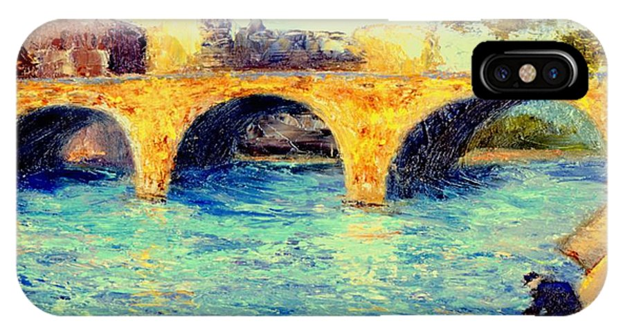 Impressionism IPhone Case featuring the painting River Seine Bridge by Gail Kirtz