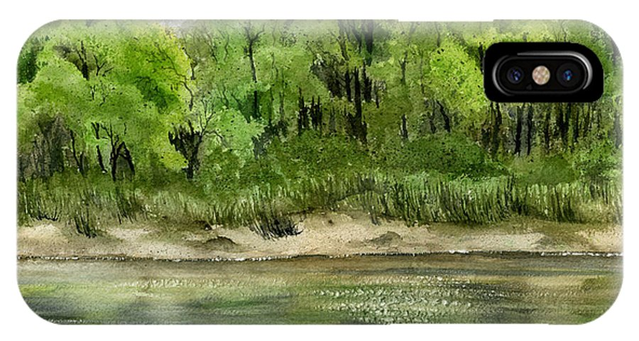 Water IPhone Case featuring the painting Riverbank by Mary Tuomi