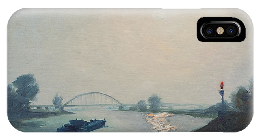 River IPhone Case featuring the painting Riverbarge by Rick Nederlof