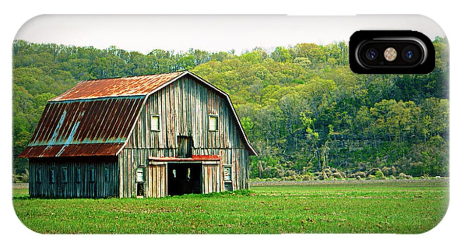 Barn IPhone X / XS Case featuring the photograph Riverbottom Barn In Spring by Cricket Hackmann