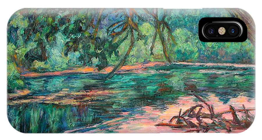 Riverview Park IPhone X Case featuring the painting Riverview At Dusk by Kendall Kessler