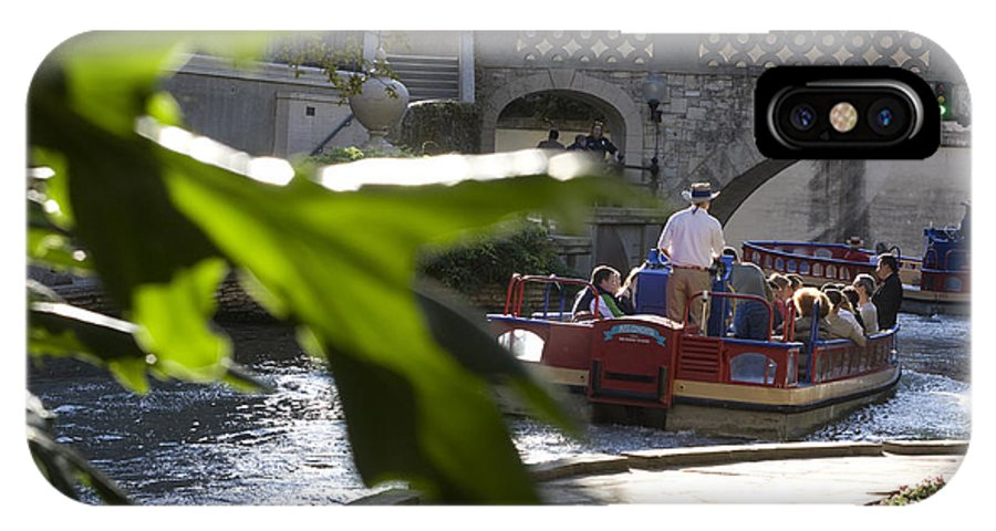 Green IPhone X Case featuring the photograph Riverwalk In San Antonio by Carl Purcell