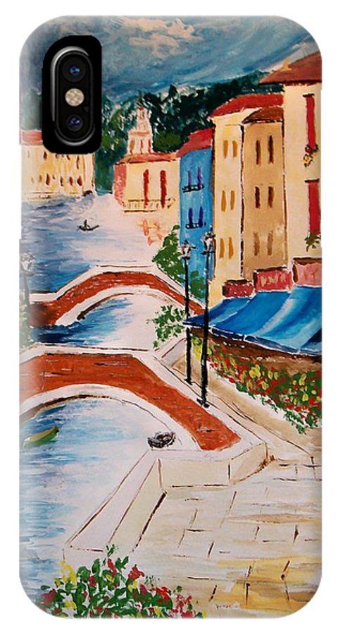 Canal IPhone Case featuring the painting Riverwalk by Leo Gordon