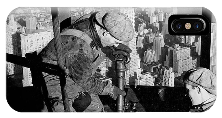 Riveters; Riveting; Male; Work; Labour; Workers; Working; Labourers; Construction; Building; History; Historical; Landmark; Skyscraper; High-rise; Empire State Building; 1930s; 30s; Thirties; Us; Usa; America; American; United States; High; Challenge; Risk; Danger; Courage; Bravery; Heights; Achievement; Scale; Teamwork; Chrysler Building; Aerial View; New York; Manhattan; Architecture; Urban; City; Cityscape; Dramatic; Builder; Builders; Scenic; Concentration; Black And White Photograph; B/w Photo; Photography IPhone X Case featuring the photograph Riveters On The Empire State Building by LW Hine