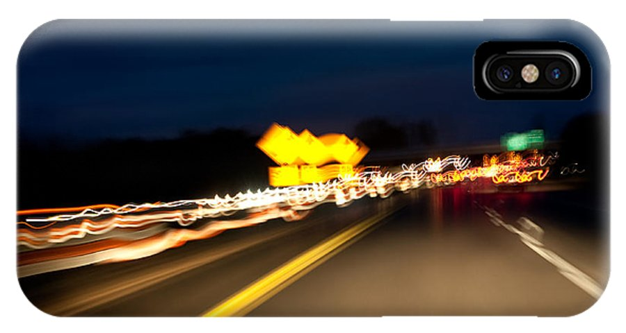 Freeway IPhone X Case featuring the photograph Road At Night 1 by Steven Dunn