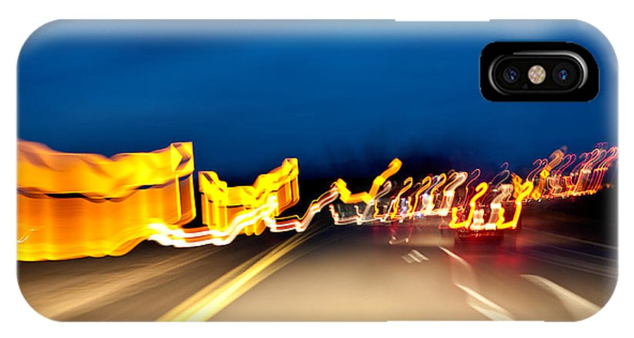 Freeway IPhone X Case featuring the photograph Road At Night 2 by Steven Dunn