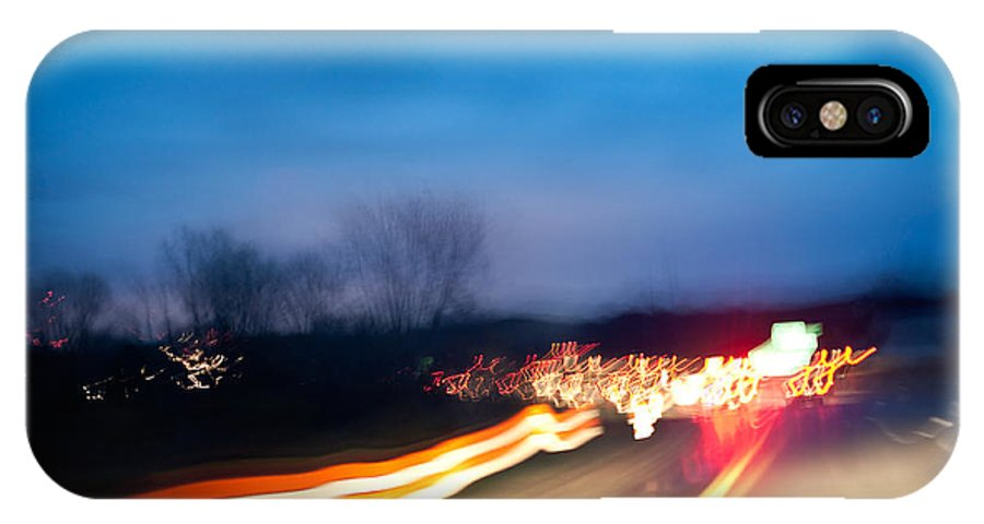 Freeway IPhone X Case featuring the photograph Road At Night 3 by Steven Dunn