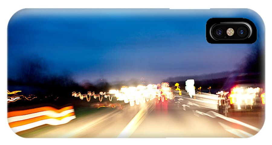 Freeway IPhone X Case featuring the photograph Road At Night 5 by Steven Dunn