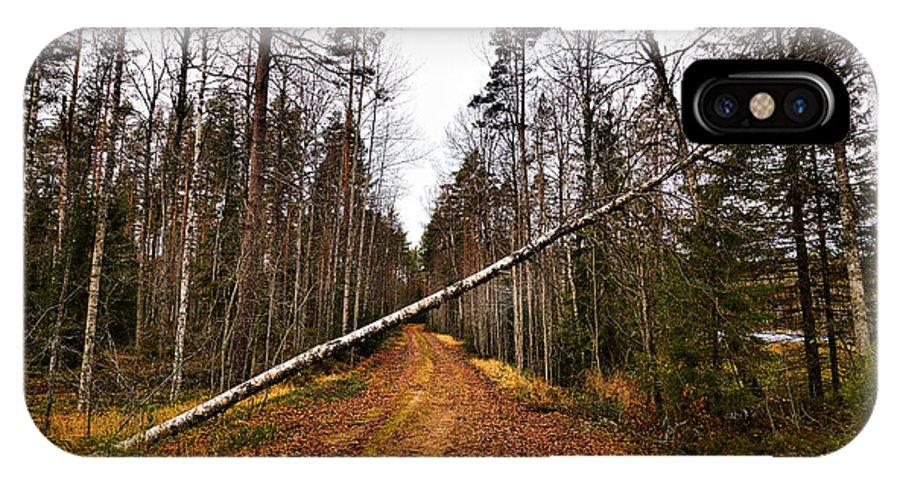 Lehtokukka IPhone X / XS Case featuring the photograph Road Closed by Jouko Lehto