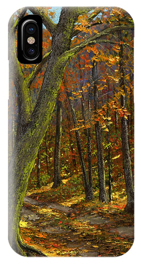 Landscape IPhone X Case featuring the painting Road In The Woods by Frank Wilson