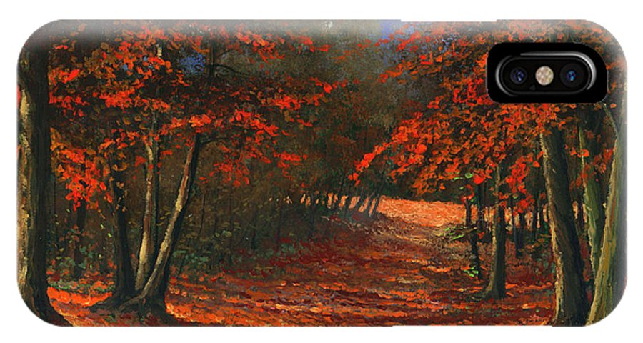 Landscape IPhone X Case featuring the painting Road To The Clearing by Frank Wilson