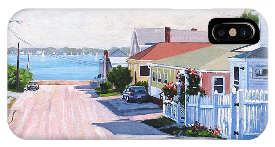 Seascape IPhone X Case featuring the painting Road To Wessagussett by Laura Lee Zanghetti
