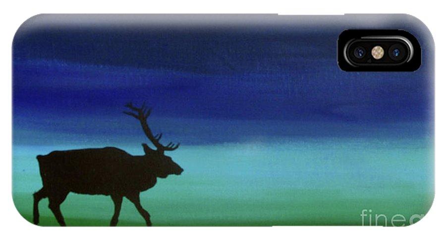 Elk IPhone X Case featuring the painting Roaming Elk by Sara Becker