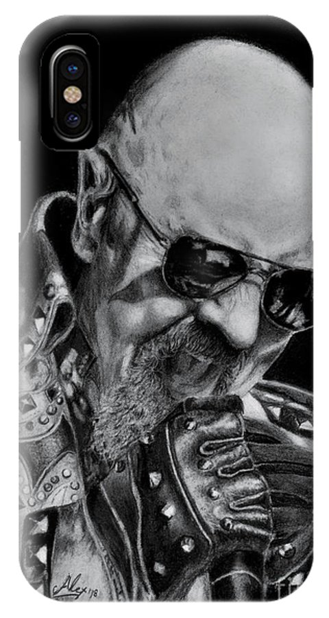 Rob Halford IPhone X Case featuring the drawing Rob Halford Lightning Strike by Alex Artman