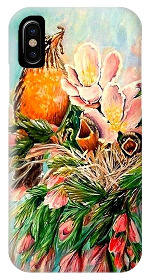 Robins IPhone X / XS Case featuring the painting Robin Hood by Carol Allen Anfinsen