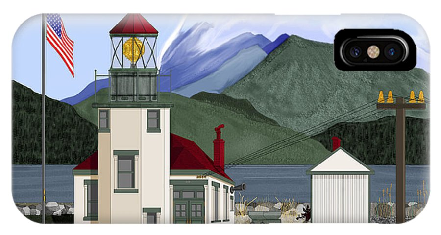 Point Robinson Lighthouse IPhone Case featuring the painting Robinson Point With Mount Rainier by Anne Norskog