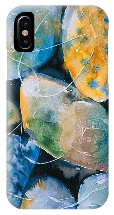 Water IPhone X Case featuring the painting Rock in Water by Allison Ashton