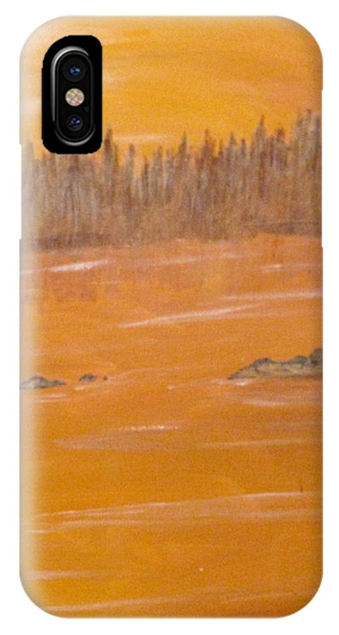 Northern Ontario IPhone X Case featuring the painting Rock Lake Morning 2 by Ian MacDonald