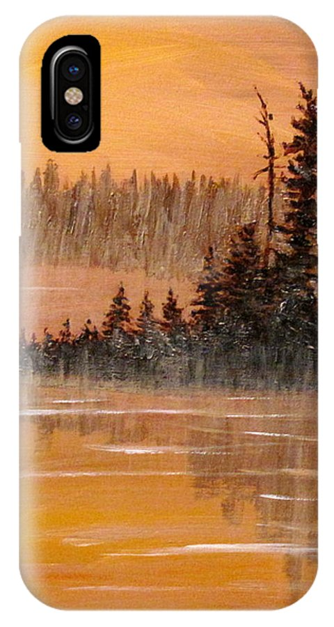 Northern Ontario IPhone X Case featuring the painting Rock Lake Morning 3 by Ian MacDonald