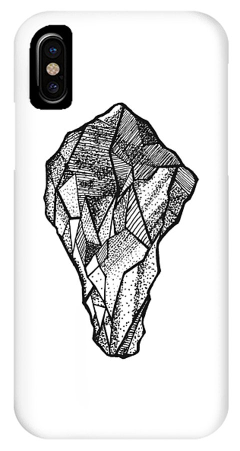 Abstract IPhone X Case featuring the drawing Rock Study by Jessica Mileur