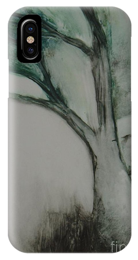 Monoprint Tree Rock Trees IPhone X Case featuring the painting Rock Tree by Leila Atkinson