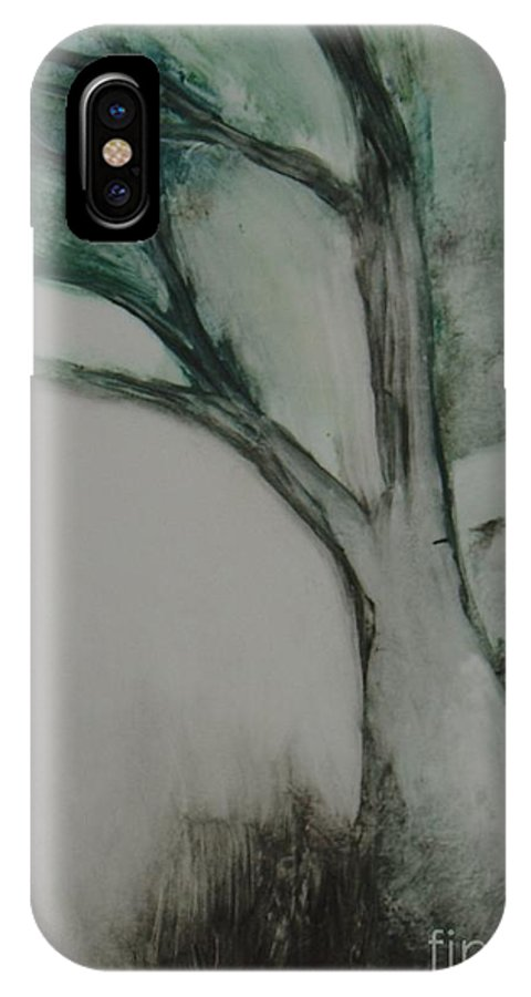Monoprint Tree Rock Trees IPhone X / XS Case featuring the painting Rock Tree by Leila Atkinson