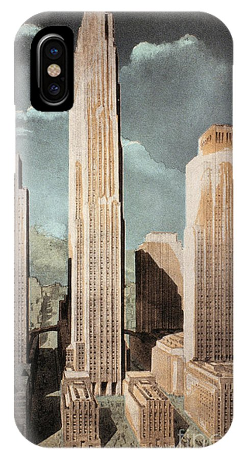 1930s IPhone X Case featuring the photograph Rockefeller Center by Granger