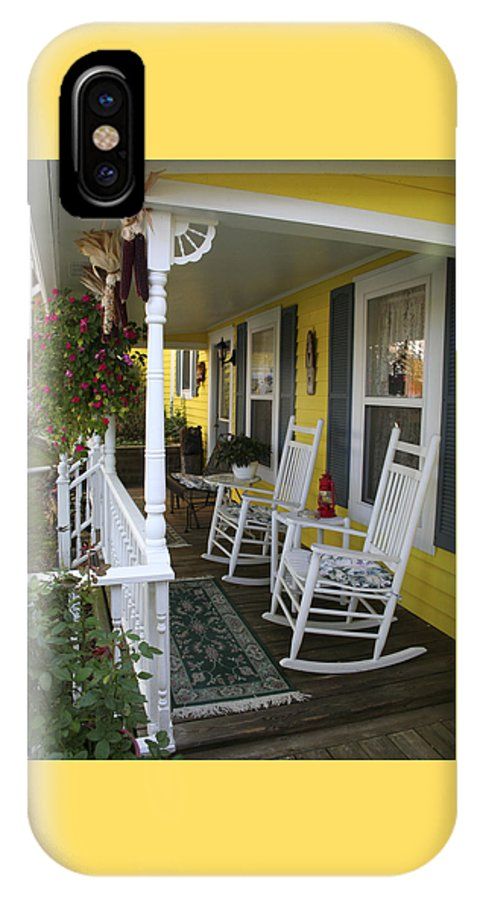 Rocking Chair IPhone X Case featuring the photograph Rockers On The Porch by Margie Wildblood
