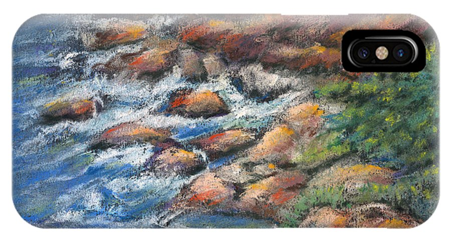 Rocks IPhone Case featuring the pastel Rocks Along The Shore by Arline Wagner