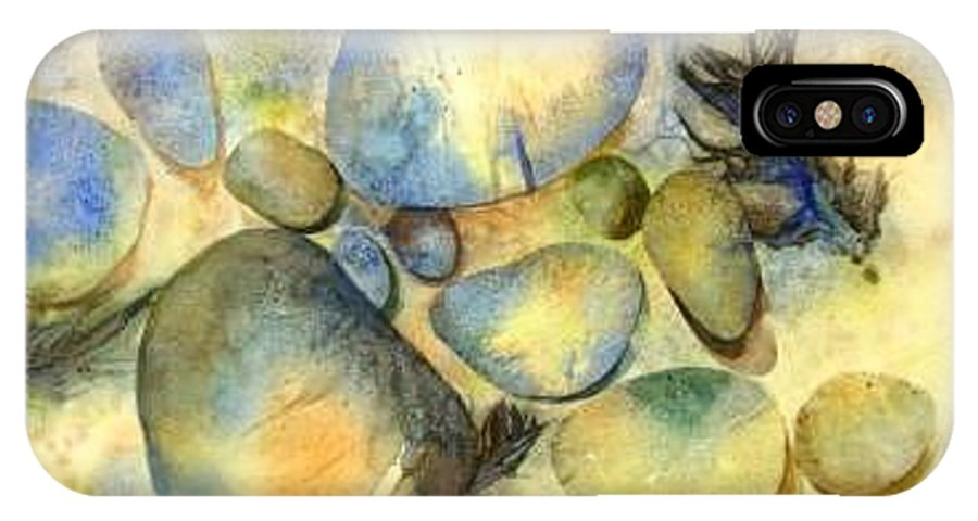 Rocks And Feathers IPhone X Case featuring the painting Rocks And Feather by Marlene Gremillion