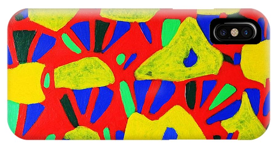 Eunice Broderick IPhone X Case featuring the painting Rocks And Flowers by Eunice Broderick