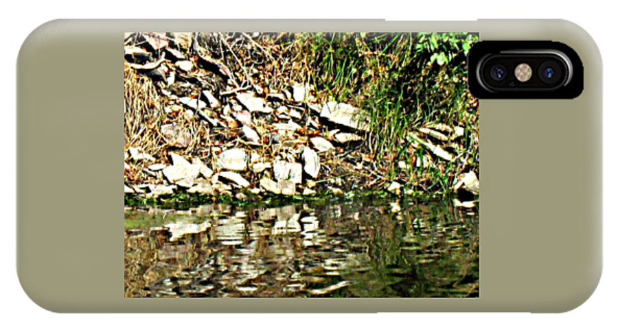 Cliff IPhone X / XS Case featuring the photograph Rocks Reflecting Off Water by Lori Faircloth