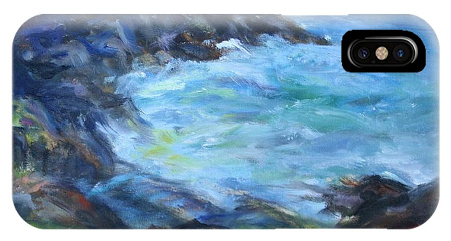 Quin Sweetman IPhone X Case featuring the painting Rocky Creek Viewpoint by Quin Sweetman