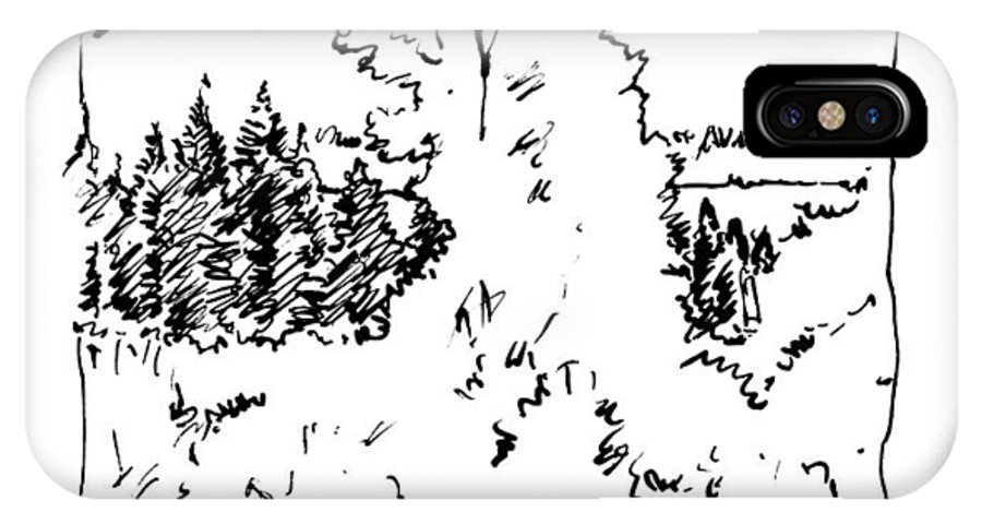 Rocky Mountains IPhone X Case featuring the drawing Rocky Mountain Aspens by John Lautermilch