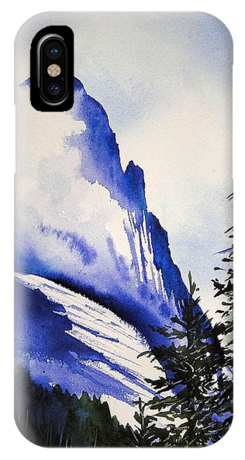 Rocky Mountains IPhone X Case featuring the painting Rocky Mountain High by Karen Stark