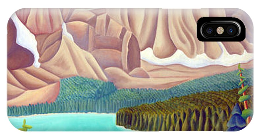 Landscape IPhone X Case featuring the painting Rocky Mountain View 3 by Lynn Soehner