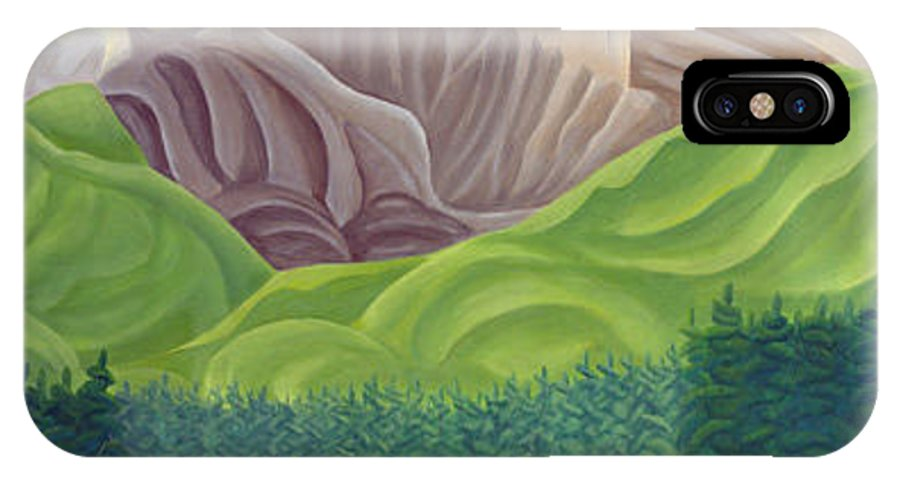 Landscape IPhone X Case featuring the painting Rocky Mountain View 4 by Lynn Soehner