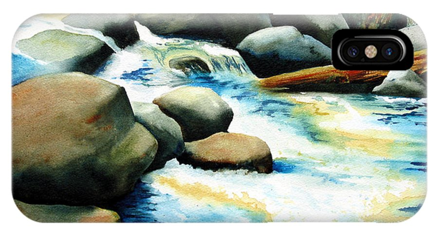 Landscape IPhone X Case featuring the painting Rocky River Run by Karen Stark